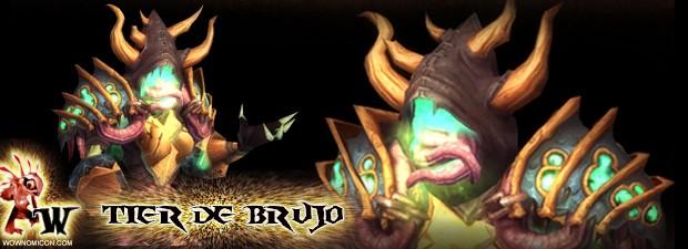 Tier 13 de Brujo,inspirado enVerax(Ulduar).   Blizzard nos muestra hoy como novedad el nuevo conjunto deBrujo.   Pese que sus hombreras si me recuerdan aUlduary el tentáculo de la cara si muy delGeneral...