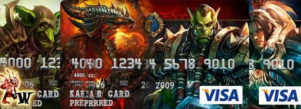 VISA americana con imágenes de Warcraft.