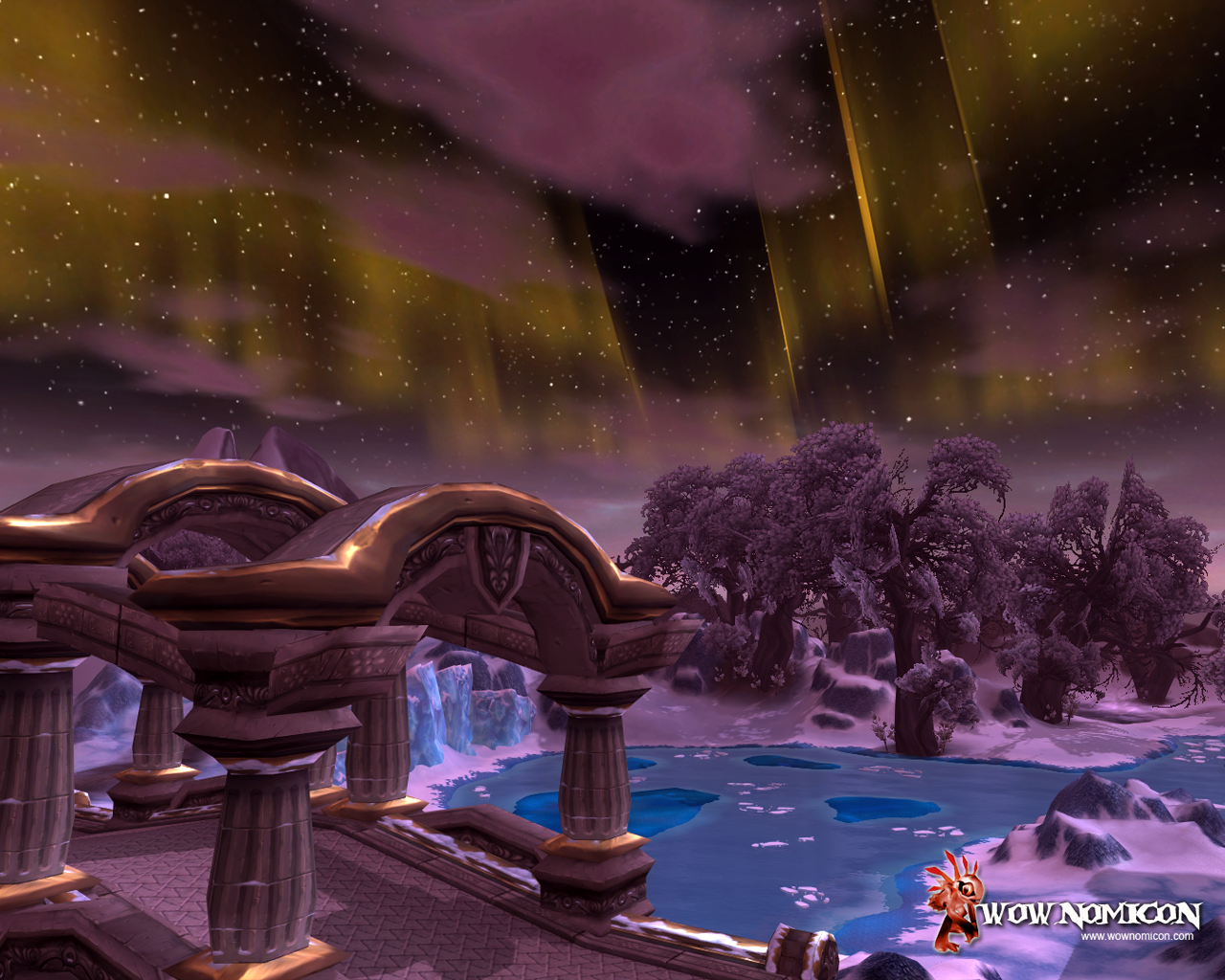 Stage West Bridge at night in Wintergrasp, Northrend. Panoramic 1920 x 1080 px Size 1280×1024 px Netbook 1024×600 px